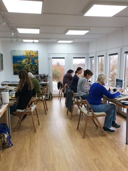 Julia Christie painting on Skye students 01