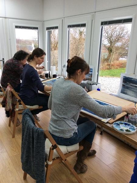 Julia Christie painting on Skye students 02